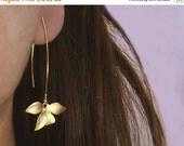 20 off. Flower Earrings.  Wild Orchid. Solo Flower Earrings in Gold or Silver. Single Orchid on A Long Earwire.