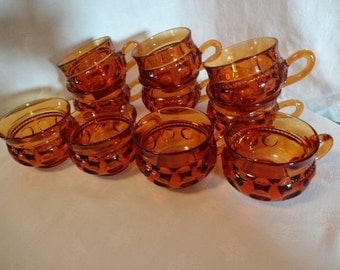 King's Crown Thumbprint Amber Vintage Punch Cups