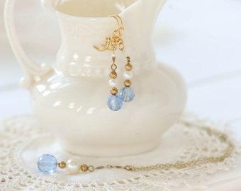 Gorgeous blue glass & pearl pendant and earring set, vintage 40s pendants, dangle earrings