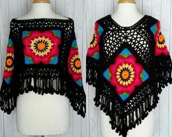 Poncho Boho Fashion Gypsy Frida Kahlo Inspired Flower Child Black with Bright Colors Free Shipping