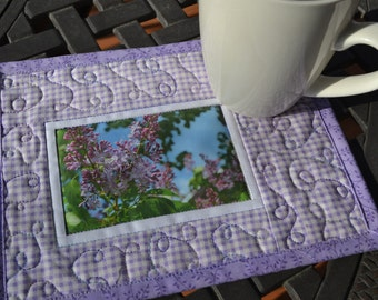 Mug Rug, Quilted Cotton, Spring Lilac Photo Fabric Placemat, Mothers Day Gift, Gardener gift, Under 20
