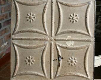 "Genuine Antique Ceiling Tile - 12""x12"" - Sand Colored Paint -- Small Flower Design"