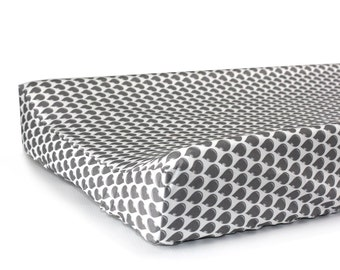 GRAY RAINDROPS - Nursery Bedding - Baby Changing Station - Modern Changing Pad Cover