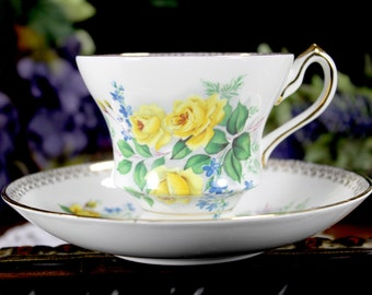 Bone China Tea Cup and Saucer - Royal Castle Footed English Teacup 11189
