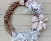 Large Winter Wreath, Rustic Grapevine, Beige Snowflake Ribbon, Snow Covered Greens and Pinecones