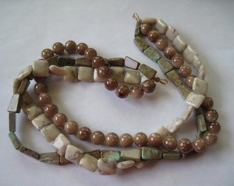 3 Strands Of Semi Precious Stones