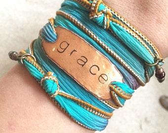Silk Wrap Bracelet- GRACE- Silk Ribbon Bracelet- christian bracelet- grace bracelet- wrap bracelet- sailor studio