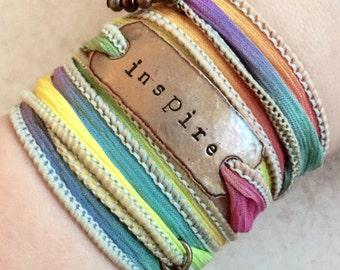 INSPIRE, wrap bracelet- inspire- Boho Silk Wrap Bracelet, Ribbon Bracelet, yoga- wrap bracelet- graduation gift- teacher gift