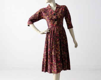 1950s print dress by Coquette, fit and flare shirt dress