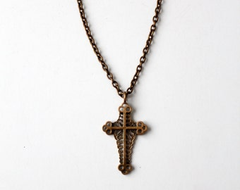 vintage cross pendant necklace, brass tone necklace, charm necklace