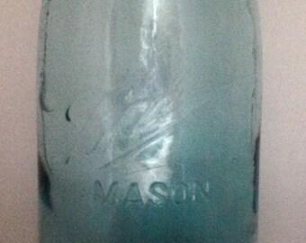 Vintage Half Gallon No Shoulder Aqua Mason Ball Jar
