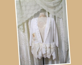 Lacy Shabby Sweater, tattered shabby n chic white romantic sweater victorian doily lace ivory by Tattered Delicates MEDIUM LARGE