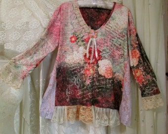 Gorgeous Floral Top, pink shabby altered clothing romantic lace trim, ruffle lace hemline, refashioned clothing LARGE