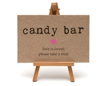 Candy Bar Sign, Wedding Signage, Bridal Shower Decoration, Sweet 16 Party, Sweet Buffet - A7SIGN-KTP