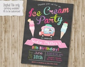 Ice Cream Birthday Invitation, Ice Cream Invitation, Ice Cream Social Invitation, Ice Cream Party, Summer Invitation, Chalkboard Ice Cream
