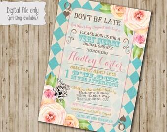 Alice in Wonderland Bridal shower Invitation, Alice in Wonderland Baby shower tea party invitation, Vintage floral Mad Hatter invite