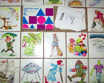 "Full Set of the most AWESOME 1970's Fantasy/Sci-Fi Flash Cards. Tell-a-Tell Large 5"" Picture Cards."