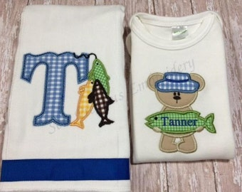 Personalized Burp and Bodysuit with Fishing Applique for Boy or Girl - Shower Gift Set