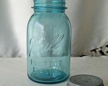 Vintage Ball Perfect Mason Quart Jar Canning Jar Blue Canning Jar Farm Kitchen Vintage 1940s
