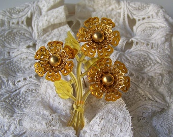 Vintage Celluloid Brooch Amber Color Flowers Bouquet Pin Fun Brooch 1960s Gift For Mom