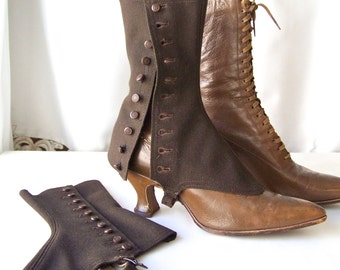Antique Victorian Spats Chocolate Brown Wool Spatterdashes Ladies Button Up Shoe Guard ca. 1901 Fashion Statement