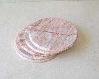 Vintage Set of 5 Marble Coasters Pink & Grey Marble Disk Coasters Vintage 1990s