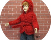 Dollhouse miniature red hooded jacket for a 1/12th scale lady doll. Handknitted.