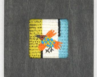 Folk Art Hand Embroidered Bird