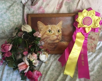 Vintage CFA CAT Show Satin Ribbon Rosette Award Best Cat   Shorthair Pink Yellow