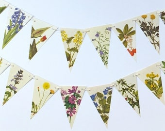 Vintage Flowers Bunting, Botanical Bunting, Floral Garland, Tea Party Flags, wedding pennants, rustic wedding decor, natural wedding
