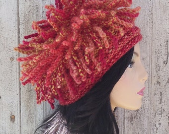 Twisted Orbit Wool Handmade Knit Hat with Tendril Twists