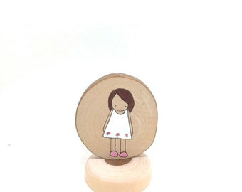 Wooden Medallion Art Doll, Portrait, Handpainted, Gift