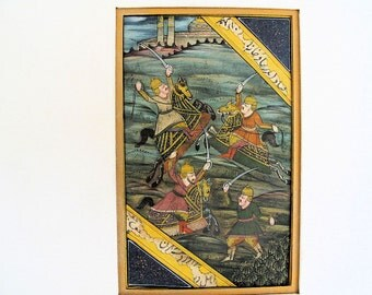 """Paper Miniature Painting of a Mughal Battle Scene, Vintage, Matted, 14"""" x 12"""" inches"""