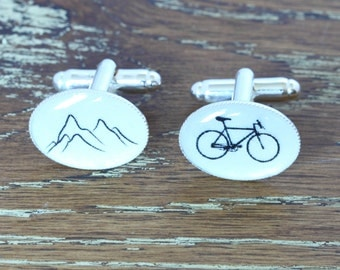 Bicycle cufflinks, Bike cufflinks, Mountain Bike Cufflinks, bike gifts, Bike Cuff Links, cycling gifts, Silver cufflinks, dad cufflinks