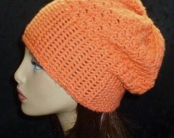Slouch Beanie, Winter Fashion, Crochet Slouch Hat, Women's Hat, Crochet Fashion, Crochet Hat - Orange