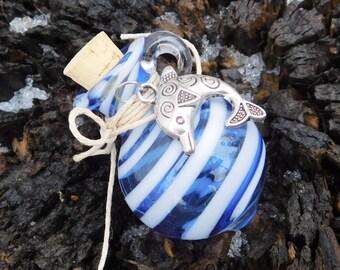 Glass Stash Jar, Urn, Cobalt Blue/Glow In The Dark, Ready to Ship, Dolphin Charm