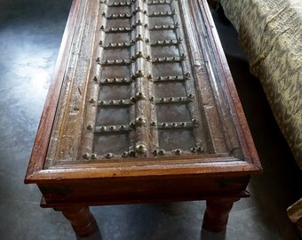 Coffee Table / Haveli Door / Glass Top / Shipping Included in the U.S.
