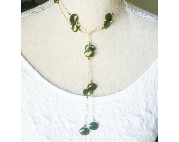 Long Green Garnet and Crystal Lariat Necklace, Green Garnet Lariat Necklace, Green Garnet Lariat, Green Garnet Necklace, Garnet Lariat