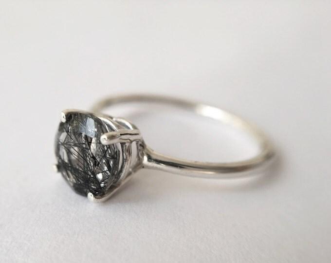 Faceted Tourmalinated Quartz Ring in sterling silver - sterling silver tourmalinated quartz ring - rutilated quartz ring - gemstone ring