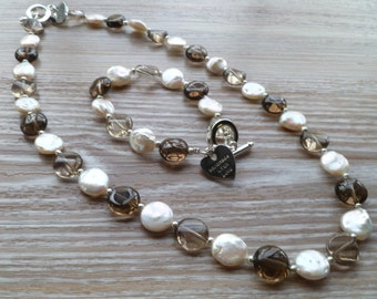 "Fresh Water Coin Pearl and Smokey Quartz Semi Precious Stone Necklace 20"" UK made"