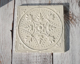 "14"" Square Tin Ceiling Tile Creamy Chippy Shabby Off White Victorian Framed Wall Hanging Cream Ivory"