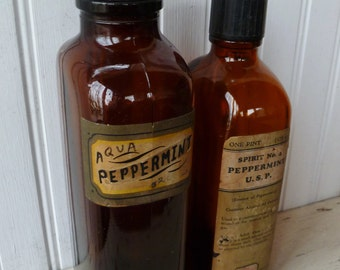 2 Apothecary Bottles. Amber Glass, Large. Peppermint Pharmacy Medicine. Vintage Antique Bottles w/ Labels. Cottage, Bathroom, Medical Decor.