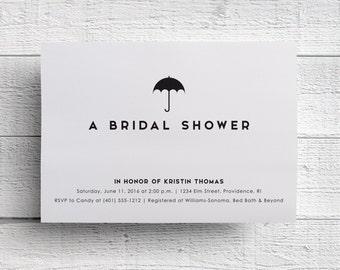 Simple Bridal Shower Invitation, Simple Wedding Shower, Kitchen Shower, Umbrella Invitation, Shower Invite, Baby Shower