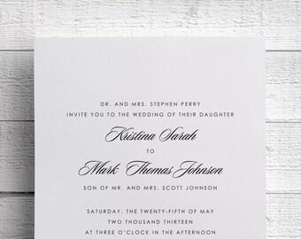 Simple Wedding Invitations Black and White Wedding Invitations - Sample