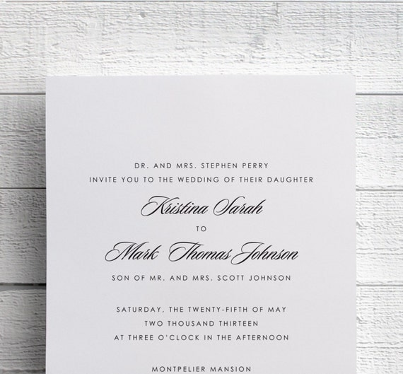 Simple Wedding Invitation Printed Wedding Invitation Black