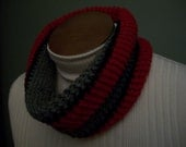 Ohio State Scarf Infinity Cowl Scarlet and Gray Handmade Crochet