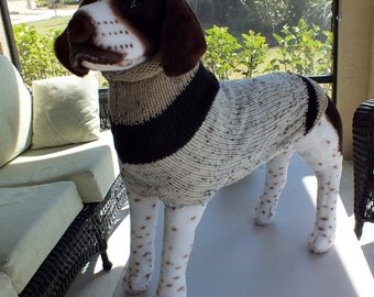 "Dog Sweater Hand Knit Oatmeal 23"" inches long"