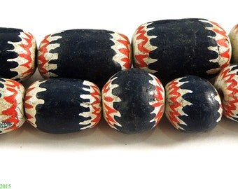 Painted Clay Beads Chevron Imitations Cameroon Africa 29 Inch 97236