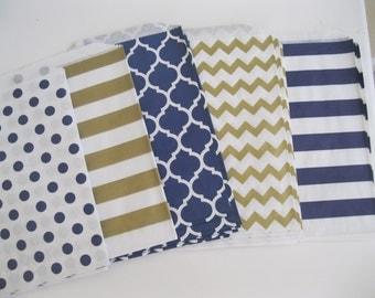 25 - 5x7 Navy, Gold and White POLKA DOT, CHEVRON, and Honeycomb Favor Bags, Treat bags