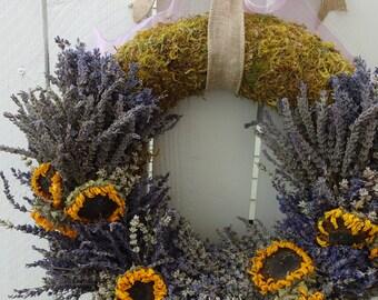 Lavender Wreath  Dried Lavender  Dried Wreath  Sunflower Wreath  Natural Wreath  Fragrant Wreath Indoor Wreath Dooor Wreath  Lavender